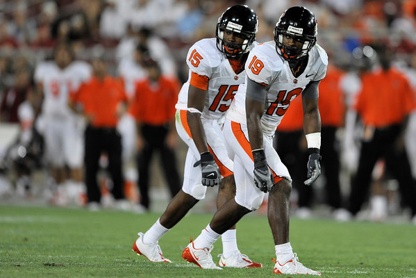 28 August 2008: Wide receiver Sammie Stroughter (19) and wide receiver Darrell Catchings (15) line up in tandem during the Stanford Cardinal's 36-28 victory over the Oregon State Beavers at Stanford Stadium in Stanford, CA.