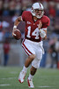 20 September 2008: Stanford quarterback Tavita Pritchard (14) scrambles during the first quarter of the Cardinal's 23-10 victory over the the San Jose State Spartans at Stanford Stadium in Stanford, CA.