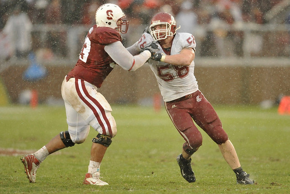 01 November 2008: Stanford defensive tackle Derek Hall (53) battles Washington State defensive end Matt Mullennix (58) during the Cardinal's 58-0 victory over the Washington State Cougars at Stanford Stadium in Stanford, CA.