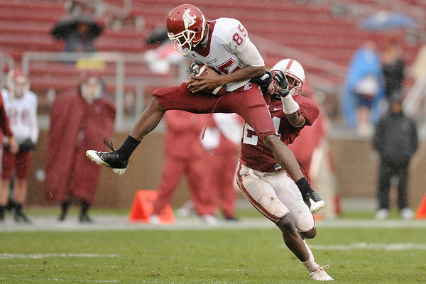 01 November 2008: Washington State wide receiver Jeshua Anderson (85) leaps in front of Stanford cornerback Kris Evans (24) to make a catch during the Cardinal's 58-0 victory over the Cougars at Stanford Stadium in Stanford, CA.