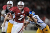 20 September 2008: Stanford running back Toby Gerhart (7) tries to elude San Jose State linebacker Wade O'Neill (44) late in the fourth quarter during the Cardinal's 23-10 victory over the Spartans at Stanford Stadium in Stanford, CA.