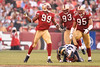 Nov. 16, 2008; San Francisco, CA, USA; San Francisco 49ers linebacker Manny Lawson (99) celebrates with linebacker Tully Banta-Cain (95) and defensive tackle Ronald Fields (93) after stopping St. Louis Rams running back Kenneth Darby (33) in the backfield on a third down play during the fourth quarter of the 49ers 35-16 victory over the Rams at Candlestick Park. Mandatory Credit: Daniel R. Harris-US PRESSWIRE
