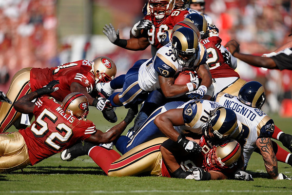 Nov. 16, 2008; San Francisco, CA, USA; St. Louis Rams running back Kenneth Darby (33) dives for a first down during the first quarter of the 49ers game against the St. Louis Rams at Candlestick Park. Mandatory Credit: Daniel R. Harris-US PRESSWIRE