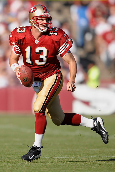 Nov. 16, 2008; San Francisco, CA, USA; San Francisco 49ers quarterback Shaun Hill (13) scrambles during the second quarter of the 49ers game against the St. Louis Rams at Candlestick Park. Mandatory Credit: Daniel R. Harris-US PRESSWIRE