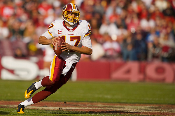 Dec. 28, 2008; San Francisco, CA, USA; Washington Redskins quarterback Jason Campbell (17) scrambles while looking for a receiver in the second quarter of the San Francisco 49ers game against the Redskins at Candlestick Park. Mandatory Credit: Daniel R. Harris-US PRESSWIRE