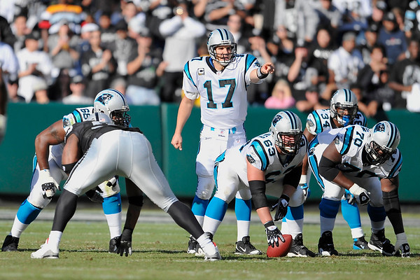 Nov. 9, 2008; Oakland, CA, USA; Carolina Panthers quarterback Jake Delhomme (17) checks down the defense during the Panthers 17-6 victory over the Oakland Raiders at Oakland-Alameda County Coliseum. Mandatory Credit: Daniel R. Harris-US PRESSWIRE
