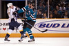11 November 2008:  Nashville Predators right wing Jordin Tootoo (22) and San Jose Sharks defenseman Alexei Semenov (21) trade blows during the Predators 4-3 overtime win over the Sharks at HP Pavillion in San Jose, California.  **** Editorial Usage Only *****