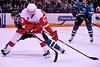 30 October 2008: Detroit Red Wings center Pavel Datsyuk (13) holds off San Jose Sharks right wing Devin Setoguchi (16) during the first period of the Sharks 4-2 win over the Red Wings at HP Pavilion in San Jose, California.  **** Editorial Usage Only *****