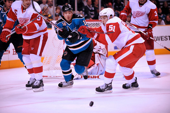 30 October 2008: San Jose Sharks right wing Devin Setoguchi (16) battles Detroit Red Wings center Valtteri Filppula (51) for the puck during the second period of the Sharks 4-2 win over the Red Wings at HP Pavilion in San Jose, California.  **** Editorial Usage Only *****