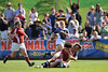 03 May 2008:  Jessica Watkins scoring the winning try with 0:00 on the clock during Stanford's 15-10 victory over Penn State to win the Division I Women's Rugby National Championship match at Stueber Rugby Stadium in Stanford, CA.