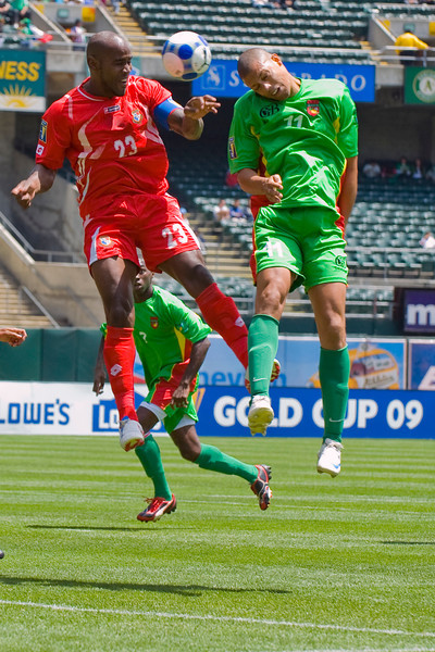 05 July 2009:  Panama defender Felipe Baloy (23) and Guadeloupe attacker Mickael Antoine-Curier (11) leap for a header during the Group C match of the Confederation of North, Central America and Caribbean Association Football Gold Cup at the Oakland-Alameda County Coliseum in Oakland, California.  Guadeloupe defeated Panama 2-1.