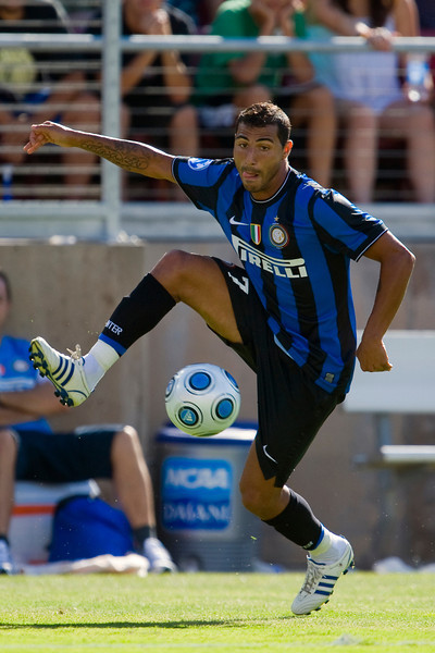 19 July 2009:  Inter Milan forward Ricardo Quaresma (7) intercepts a ball during play in the World Football Challenge match between Club America and Inter Milan at Stanford Stadium in Stanford, California.  Club America prevailed 1-1 on penalty kicks.