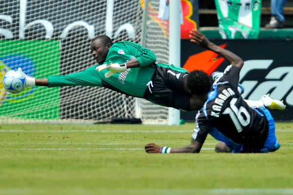 12 July 2008:  Bouna Coundoul (1) makes a diving stop on a shot by Kei Kamara (16) during the San Jose Earthquakes' 1-1 tie with the Colorado Rapids at Buck Shaw Stadium in Santa Clara, CA.