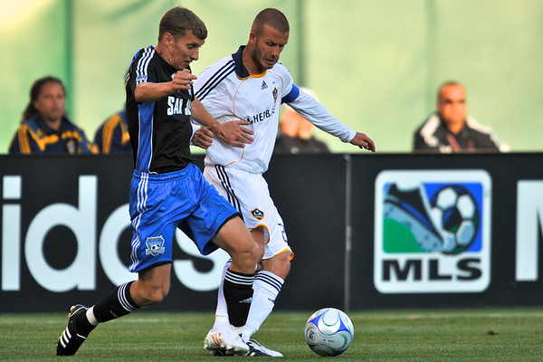 14 June 2008:  Ronnie O'Brien (7) steps in front of an attempted David Beckham (23) pass during the Los Angeles Galaxy's 3-0 victory over the San Jose Earthquakes at McAfee Coliseum in Oakland, CA.