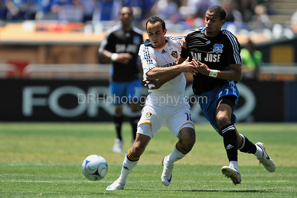 03 August 2008:  Landon Donovan (10) and Jay Ayres (27) during the San Jose Earthquakes' 3-2 win over the Los Angeles Galaxy at McAfee Coliseum in Oakland, CA.