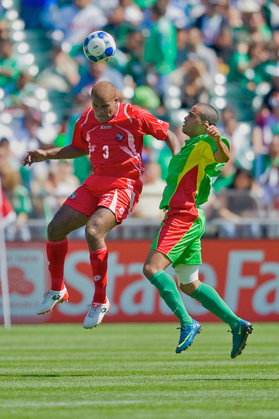 05 July 2009:  Panama defender Luis Moreno (3) leaps for a header during the Group C match of the Confederation of North, Central America and Caribbean Association Football Gold Cup at the Oakland-Alameda County Coliseum in Oakland, California.  Guadeloupe defeated Panama 2-1.