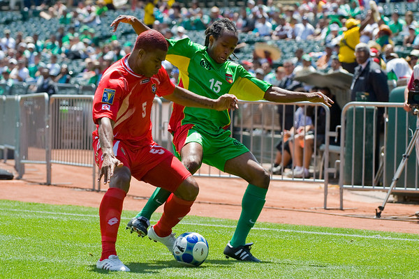 05 July 2009:  Panama defender Roman Torres (5) and Guadeloupe defender Miguel Cominges (15) compete for a ball during the Group C match of the Confederation of North, Central America and Caribbean Association Football Gold Cup at the Oakland-Alameda County Coliseum in Oakland, California.  Guadeloupe defeated Panama 2-1.