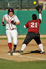 15 February 2008: Shannon Koplitz beats out the throw for an infield single during Stanford's 12-2 win over the Santa Clara Broncos at the Boyd and Jill Smith Family Stadium in Stanford, CA.