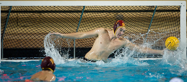 06 December 2008: USC Trojans goalkeeper Joel Dennerley (1) reaches for a save during the Trojans 14-9 win over the Navy Midshipmen in the NCAA men's water polo championship semi-final game at the Avery Aquatic Center in Stanford, CA.