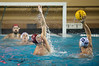 06 December 2008: Stanford Cardinal driver Sage Wright (11) defends Loyola Marymount Lions utility Tim Heafner (12) during the Cardinal's 6-5 win over the Lions in the NCAA men's water polo championship semi-final game at the Avery Aquatic Center in Stanford, CA.