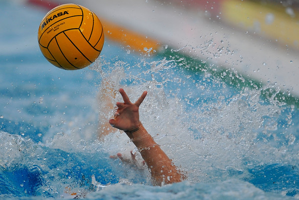 10 May 2008:  In-bound ball during the semi-final match of the 2008 NCAA women's water polo championships at the Avery Aquatic Center in Stanford, CA.  USC defeated Stanford 10-6, to move on to the championship match against UCLA.