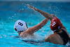 10 May 2008:  Stanford Cardinal Kira Hillman (9) defends USC Trojan Alexandra Kiss (8) during the semi-final match of the 2008 NCAA women's water polo championships at the Avery Aquatic Center in Stanford, CA.  USC defeated Stanford 10-6, to move on to the championship match against UCLA.
