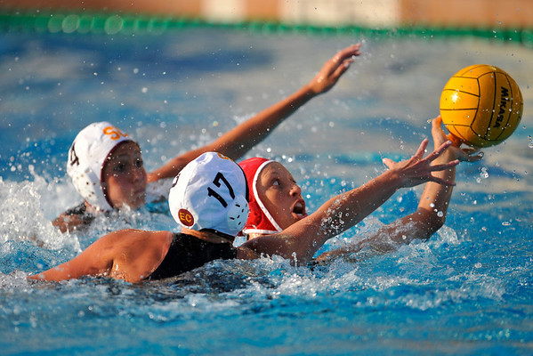10 May 2008:  USC Trojans Kristen Dronberger (17) and Veronika Bartunkova (4) defend during the semi-final match of the 2008 NCAA women's water polo championships at the Avery Aquatic Center in Stanford, CA.  USC defeated Stanford 10-6, to move on to the championship match against UCLA.
