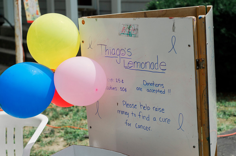 The Molinari Family, of Fitchburg, raised money for the Lucy's Love Bus on Saturday, July 29, 2017 with a lemonade stand on Hancock Street. Six-year-old Thiago Molinari just recently finished treatment for Leukemia. Lucy's Love Bus is an organization that delivers helpful integrative therapies, comfort and quality of life to children with cancer. SENTINEL & ENTERPRISE / Ashley Green