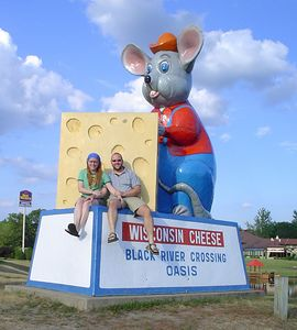 I haven't posed in front of this thing in about 10 years. It's a must for any first-time Wisco visitor! God bless Black River Falls and its huge mouse with cheese.