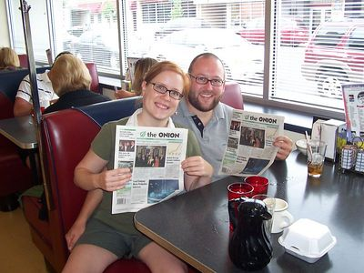 At my favourite diner, where I can get REAL corned beef hash and paper copies of The Onion, created in Madison, Wisconsin!