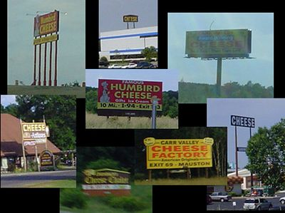 """Danno's little collage of """"cheese"""" signs seen on various Wisconsin highways. But wait-- there's more!"""