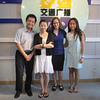 "JUCCCErs with radio host Ye Zhi (in white dress) of the Green Life radio show in Shanghai<br /> 聚思人和上海交通广播""绿色生活""栏目主持人叶子在一起"