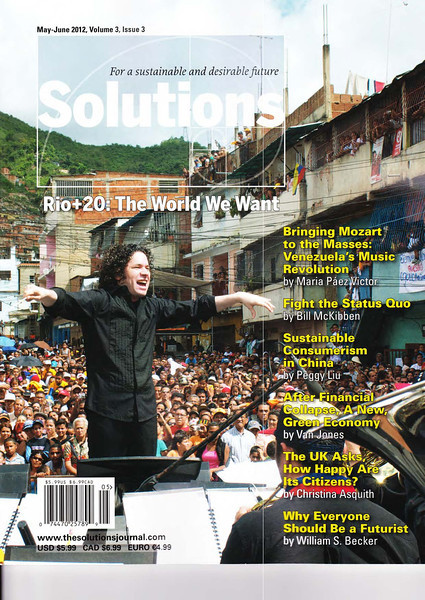 """Solutions Journal. Cover story written for Rio+20, by Peggy Liu """"Sustainable Consumerism in China"""".<br /> 《解决方案》杂志封面故事:""""里约+20峰会""""特约文章,刘佩琪《中国的可持续消费》"""