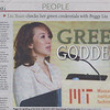 "Dec 14, 2009 China's Global Times features JUCCCE Chair Peggy Liu as ""Green Goddess""<br /> 中国《环球时报》(2009年12月14日)称聚思主席刘佩琪为""绿色女神"""