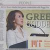"Dec 14, 2009 China's Global Times features JUCCCE Chair Peggy Liu as ""Green Goddess""<br /> 中国《环球时报》(2009年12月14日)称聚思主席刘佩琪为""绿色女神"""