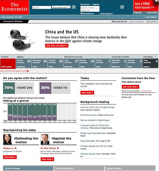 "Nov 24, 2009 Economist Debates ""China is leading the US in climate change""<br /> 《经济学人》(2009年11月24日)关于""中国在气候变化方面引领美国""的辩论"