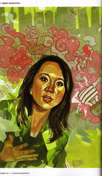 """The Diplomat. cover story """"China's Green Goddess""""<br /> 《外交家》封面故事是""""中国绿色女神"""""""