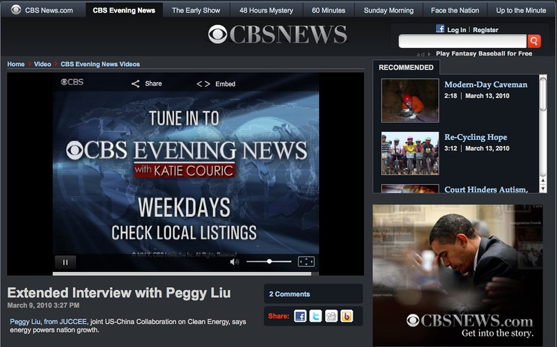 "March 9, 2010 CBS Evening News ""How American Could Get RIch by Going Green""<br /> 2010年3月9日哥伦比亚广播公司晚间新闻""美国人怎样通过追求绿色生活变得富裕"""