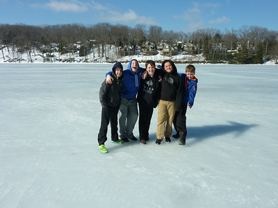 Ethan, Noah, Zack, Josh, and Brian standing on Deep Creek Lake the week before our first practice.