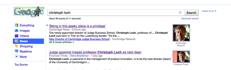 "Google.co.uk search for ""Christoph Loch"" - Feb 2011"