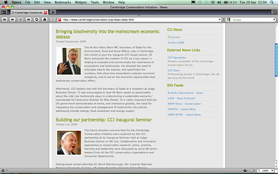 www.cambridgeconservation.org - Photos of Sir David Attenbourgh & Hilary Benn MP - Sept 2009