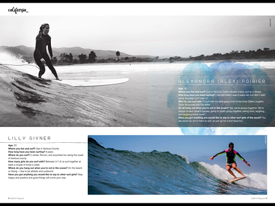A profile shot of Alex Poirier & Lily Givner published in issue #50 (Spring 2015) of Surfgirl Magazine.