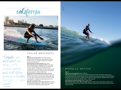 A profile features of Taylor Bruynzeel & Michelle Watson published in issue #50 (Spring 2015) of Surfgirl Magazine.