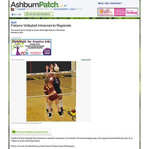 2010-11-08 -- Falcons Volleyball Advances to Regionals - Ashburn, VA Patch