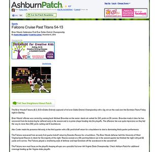 2010-11-06 -- Falcons Cruise Past Titans 54-13 - Ashburn, VA Patch