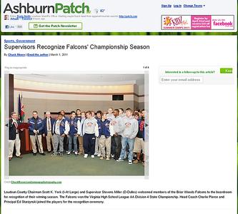 2011-03-01 -- Supervisors Recognize Falcons' Championship Season - Ashburn, VA Patch