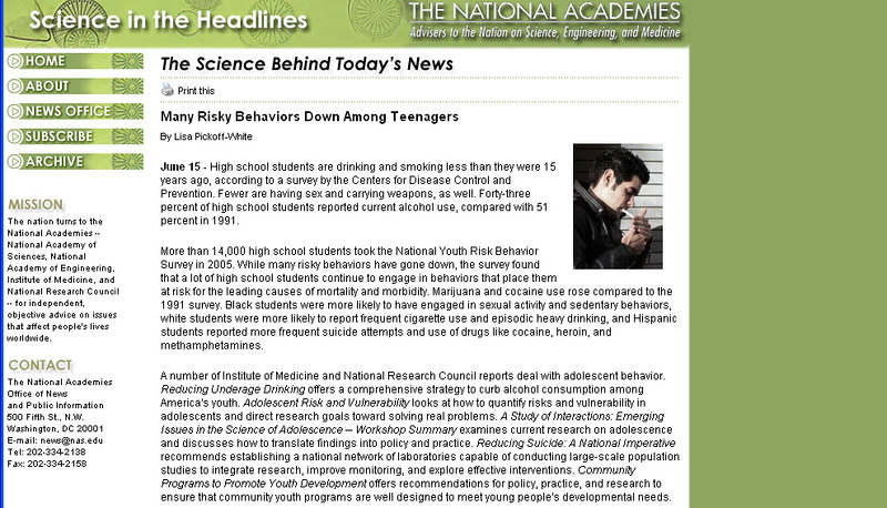 """Photo used for ezine article: Science in the Headlines, <a href=""""http://www.nationalacademies.org/headlines/20060615.html"""">http://www.nationalacademies.org/headlines/20060615.html</a>"""