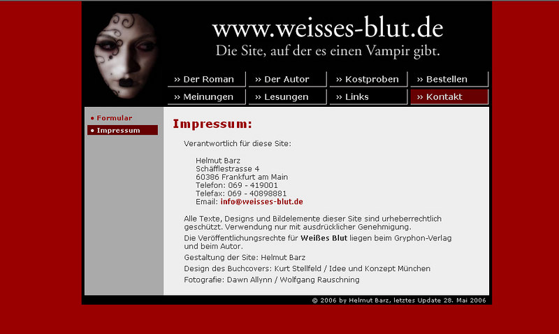 "Image used for book cover, Weisses Blut, published in germany by Helmut Bartz <a href=""http://www.weisses-blut.de/kontakt_impressum.html"">http://www.weisses-blut.de/kontakt_impressum.html</a>"