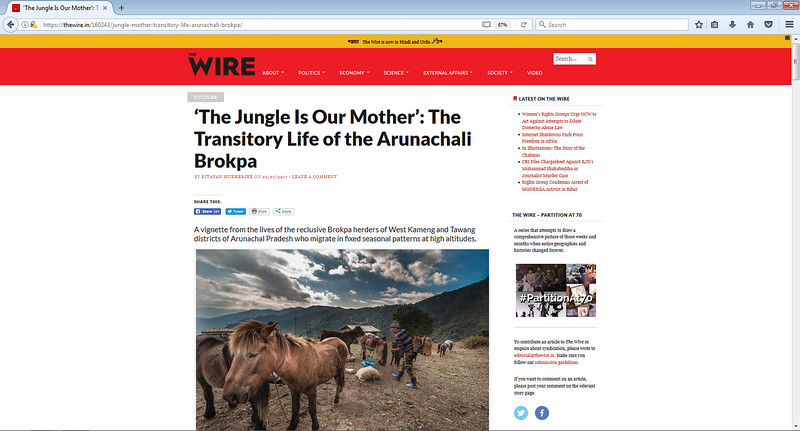 "Republished from The People's Archive of Rural India. <br /> <br /> The link <br /> <br /> <a href=""https://thewire.in/160243/jungle-mother-transitory-life-arunachali-brokpa/"">https://thewire.in/160243/jungle-mother-transitory-life-arunachali-brokpa/</a>"