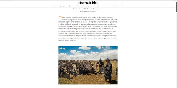 A small part of Sans Terre on Tibetan pastoral nomad has been featured in Fountain INK 's July month's issue. Fountain INK is an award-winning long-form narrative magazine that comes out once a month from Chennai,India.